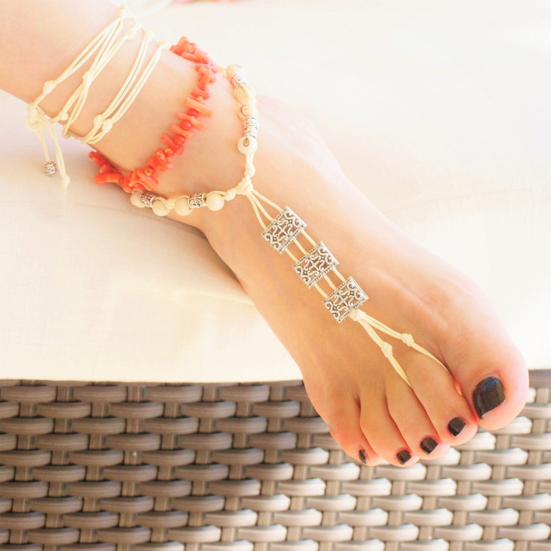 Light-red coral anklet