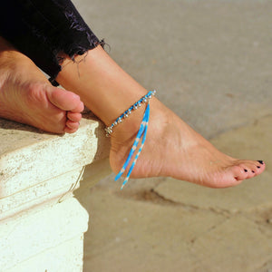 Blue anklet with bells