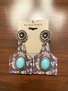Cactus Cow Tag Earrings with Turquoise Stone