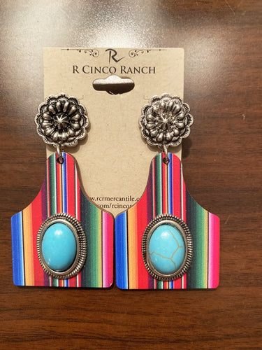 Serape Cow Tag Earrings with Turquoise Stone