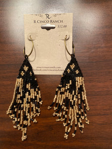 Black and Gold Patterned Seed Bead Dangles