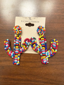 Bright Multi-Colored & Multi-Sized Seed Bead Cactus Earrings
