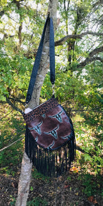 Cassie Fringe Bag w/ Longhorn Turquoise Brown Embossed Leather