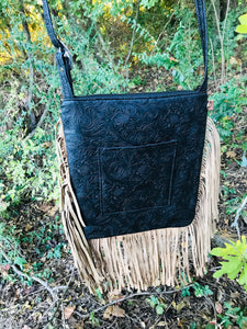 Kimberly (Body) Embossed Leather& Fringe Crossbody 2