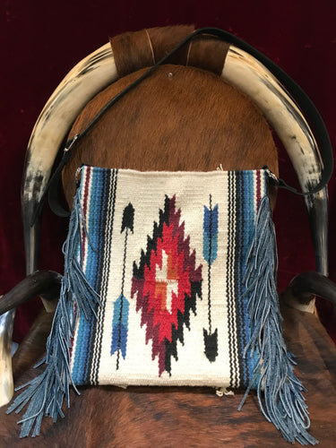 Free Spirit Vintage Saddle Blanket & Leather Fringe Handbag A