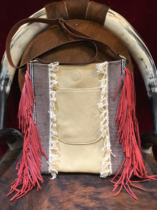 Free Spirit Vintage Saddle Blanket & Leather Fringe Handbag F