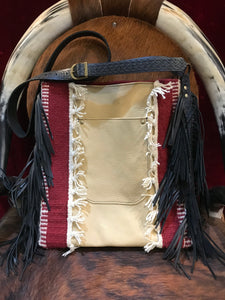 Free Spirit Vintage Saddle Blanket & Leather Fringe Handbag I
