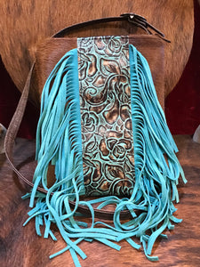 Durango (Body) Hair-on Hide Crossbody with Roses Turquoise Brown Embossed Leather and Fringe