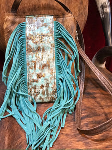 Durango (Body) Hair-on Hide Crossbody with Driftwood Moonlight Embossed Leather and Fringe