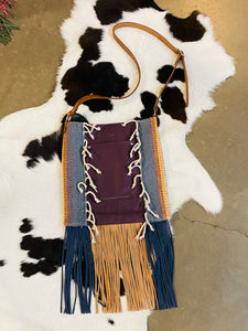 Santa Fe Vintage Saddle Blanket & Leather Fringe Handbag W
