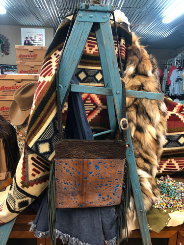 Wilder Upside Downtown (Body) Natural Embossed Leather & Blue Acid Wash Hide Crossbody