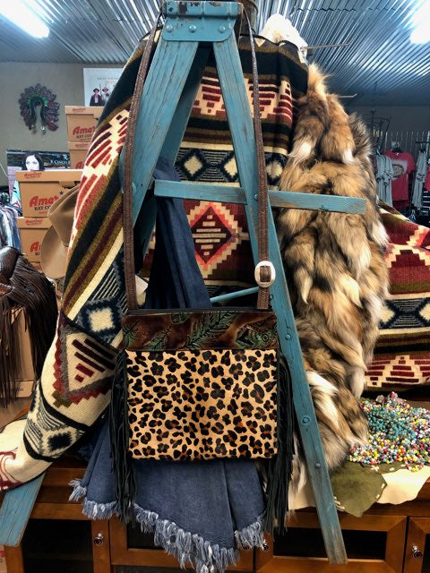Wilder Upside Downtown (Body) Plumas Chocolate Mint Embossed Leather & Leopard Hair on Hide Crossbody