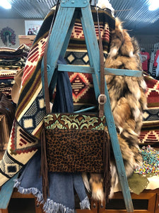 Wilder Upside Downtown (Body) Laredo Turquoise Brown Embossed leather and  Leopard Hair on Hide Crossbody