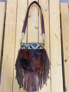 Madison Rose Bag w/ Laredo Turquoise Brown Embossed Leather w/ Tri Hair-on Hide
