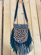 Madison Rose Bag w/ Floral Turquoise Brown Embossed Leather w/ Leopard Hair-on Hide