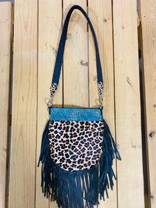 Madison Rose Bag w/ Python Aqua Metallic Embossed Leather w/ Leopard Hair-on Hide