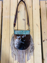 Madison Rose Bag w/ Chateau Plated Turquoise Embossed Leather w/ Hair-on Hide