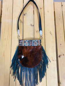 Madison Rose Bag w/ Navajo Turquoise Brown Embossed Leather w/ Hair-on Hide