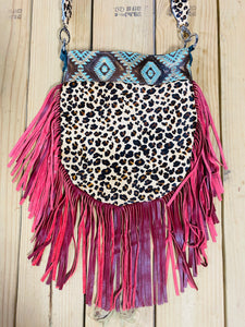 Madison Rose Bag w/ Aztec Turuqoise Brown Embossed Leather w/ Leopard Hair-on Hide
