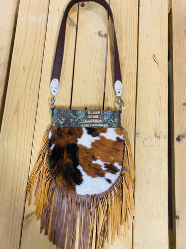 Madison Rose Bag w/ Butch Cassidy Turquoise Brown Embossed Leather w/ Tri Hair-on Hide