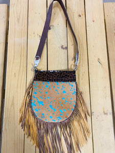 Madison Rose Bag w/ Turquoise Acid Washed Leather w/ Leopard Hair-on Hide