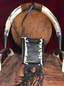 Spirit of the South Saddle Blanket & Leather Fringe Crossbody with Tooled Leather Strip CC