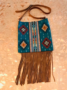 Santa Fe Vintage Saddle Blanket & Leather Fringe Handbag B