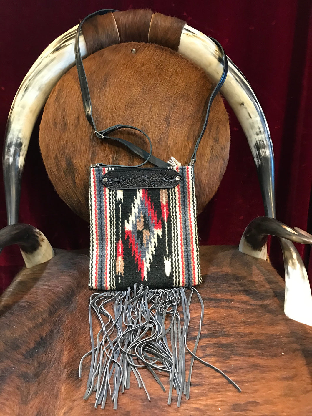 Spirit of the South Saddle Blanket & Leather Fringe Crossbody with Tooled Leather Strip EE