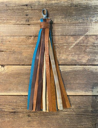 "10"" Tassel Mult Leather: Various browns & turquoise  leathers!"
