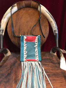 Saddle Blanket & Leather Fringe Crossbody with Tooled Leather Strip AA