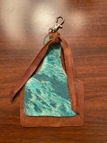 Leather Cow Tag Key Chain: Light Brown and Turquoise Acid Washed Hair-on-Hide