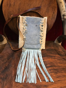 Spirit of the South Saddle Blanket & Leather Fringe Crossbody with Tooled Leather Strip BB