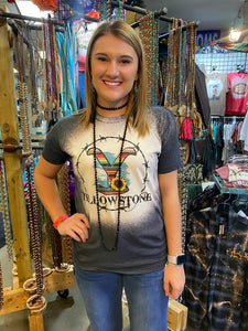 Yellowstone with Serape and Barbed Wire Circle Frame Bleached Tee