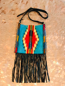 Santa Fe Vintage Saddle Blanket & Leather Fringe Handbag N