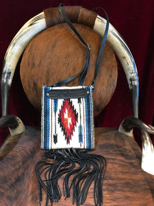Saddle Blanket & Leather Fringe Crossbody with Tooled Leather Strip HH