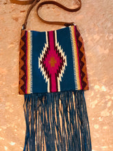 Santa Fe Vintage Saddle Blanket & Leather Fringe Handbag D