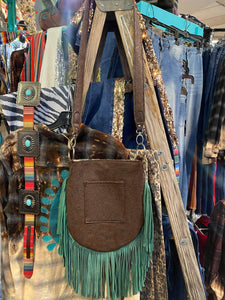 Cassie Fringe Bag w/ Lareodo Turquoise Brown Embossed Leather