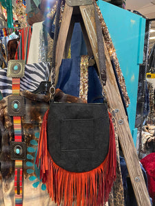 Cassie Fringe Bag w/ Aztec Turquoise Black Embossed Leather