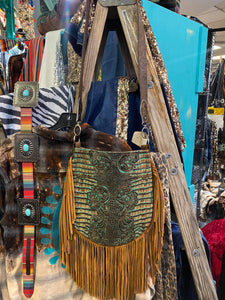 Cassie Fringe Bag w/ Butch Cassidy Turquoise Brown Embossed Leather