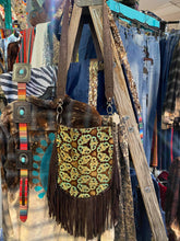Cassie Fringe Bag w/ King Turquoise Brown Embossed Leather