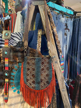 Cassie Fringe Bag w/ Python Turquoise Mocha Embossed Leather