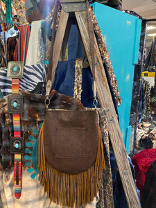 Cassie Fringe Bag w/ Navajo Turquoise Brown Embossed Leather