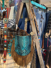 Cassie Fringe Bag w/ Croc Indigo Embossed Leather