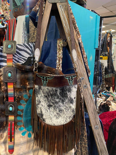Madison Rose Bag w/ Roan Black and White Hide and Longhorns Turquoise Brown Embossed Leather