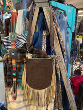 Cassie Fringe Bag w/ Crocodile Turquoise Brown Embossed Leather
