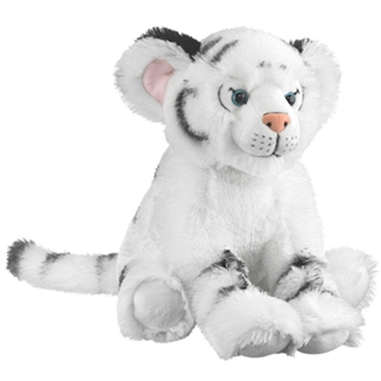 18 Inch Conservation Critter Sitting White Tiger Cub Plush Stuffed