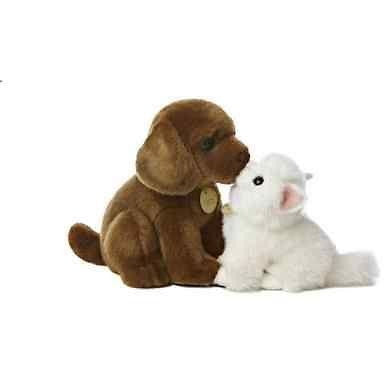 12 Inch Miyoni Chocolate Lab With Angora Kitten Plush Stuffed Animal
