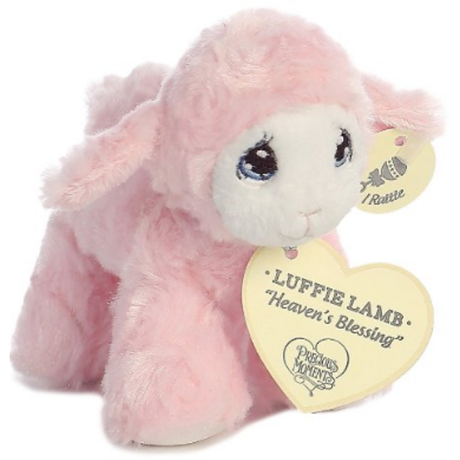 6 Inch Precious Moments Pink Luffie Lamb Plush Stuffed Animal Baby