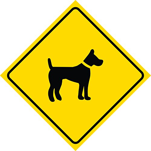 Aluminum Yellow Diamond Caution Dog Crossing Sign Metal Square Single Sign, 12x12