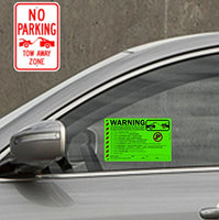 50 Green Fluorescent MULTI-REASON Warning Violation No Parking Towing Car Window Sign Stickers 8X5